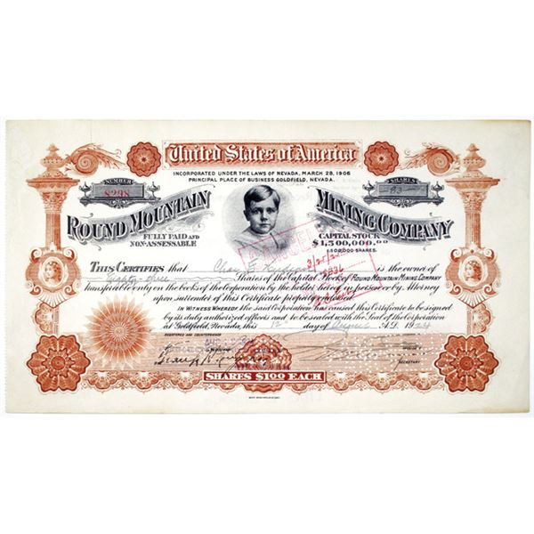 Round Mountain Mining Co. 1924 Issued Stock Certificate