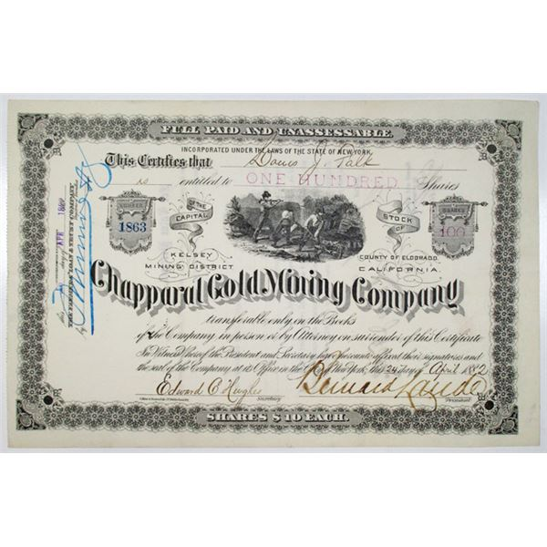 Chapparal Gold Mining Co. 1882 I/U Stock Certificate