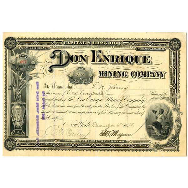 Don Enrique Mining Co. 1888 I/U Stock Certificate