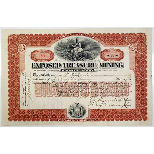 Exposed Treasure Mining Co. 1903 I/U Stock Certificate