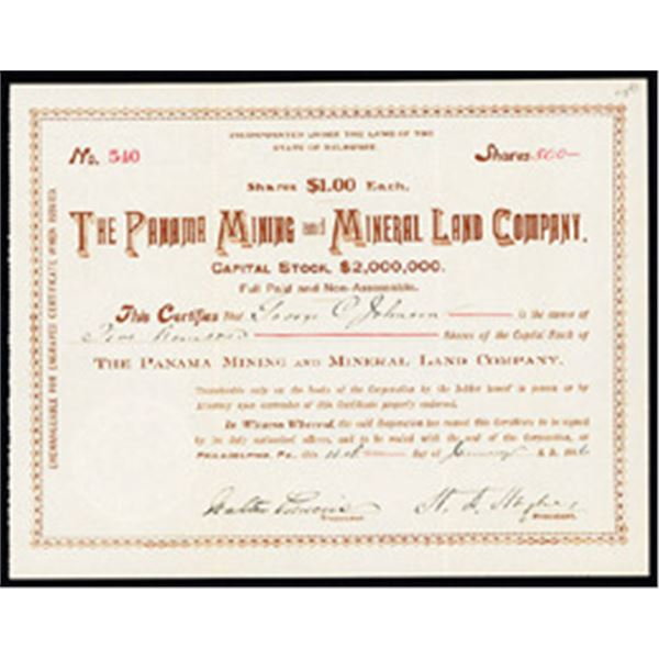 Panama Mining and Mineral Land Co. 1906 Issued Stock Certificate