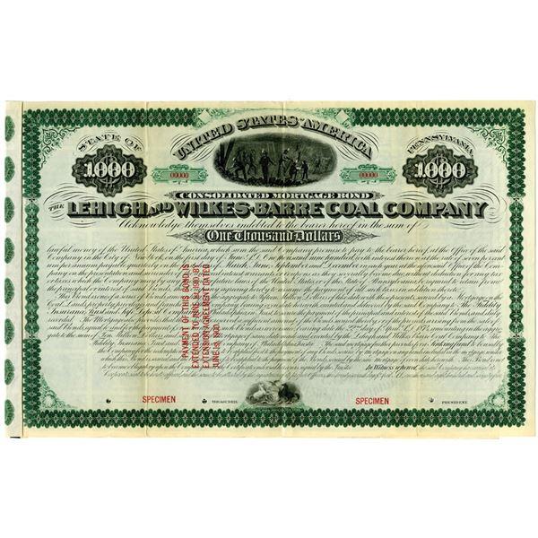 Lehigh and Wilkes-Barre Coal Co. 1875 Specimen Bond Rarity