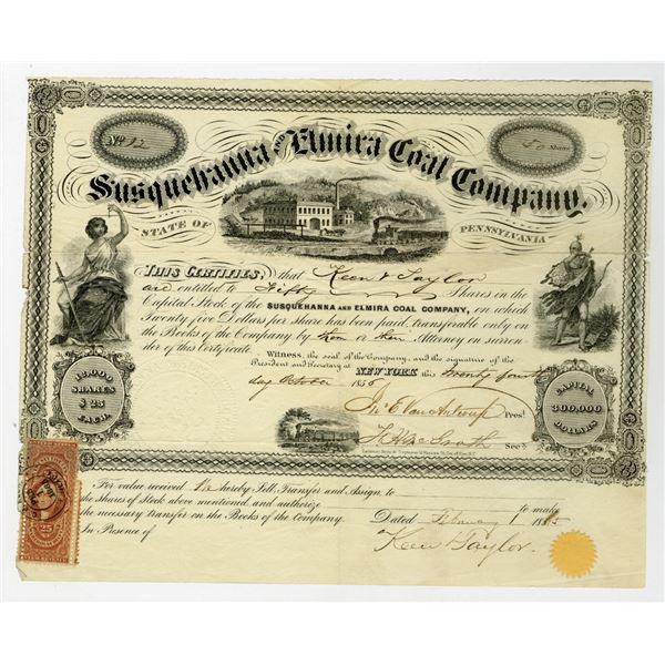 Susquehanna and Elmira Coal Co. 1856 I/U Stock Certificate