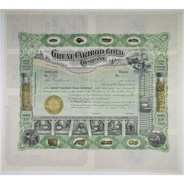 Great Cariboo Gold Company, 1908 I/U Stock Certificate.