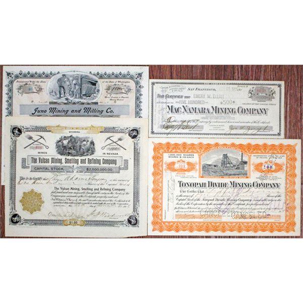 Washington, Nevada, and California Mining Stock Certificate Quartet, 1899-1918