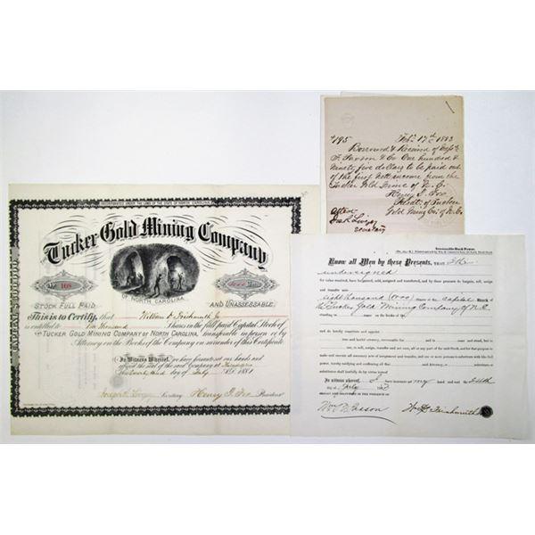 Tucker Gold Mining Company of North Carolina, 1881 I/U Stock Certificate