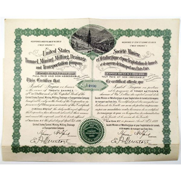 United States Tunnel, Mining, Milling, Drainage and Transportation Co. 1899 I/U Stock Certificate