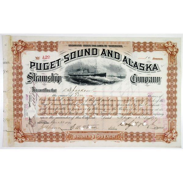 Puget Sound & Alaska Steamship Co. 1890 I/C Stock Certificate