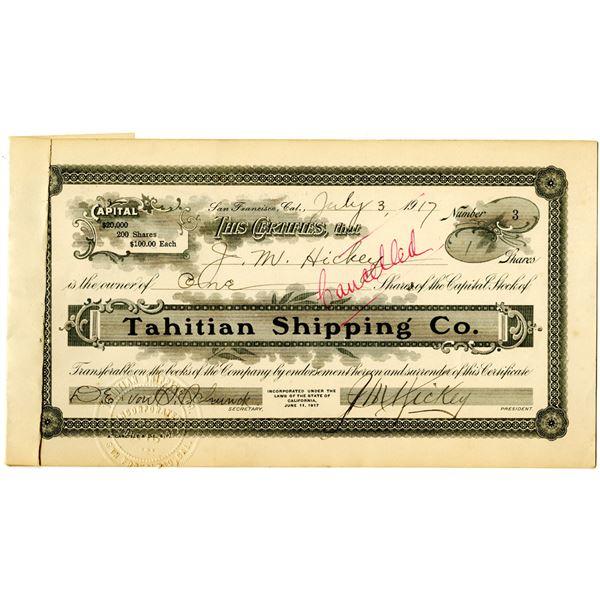 Tahitian Shipping Co. 1917 I/C Stock Certificate