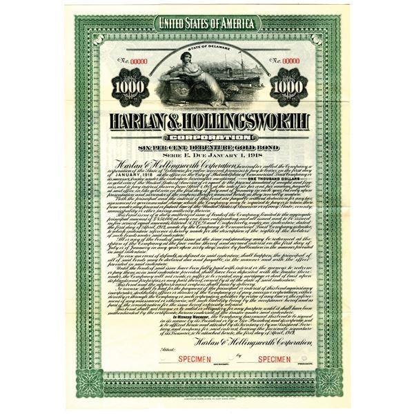 Harlan & Hollingsworth Corp. 1912 Specimen Bond