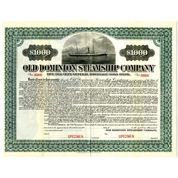 Old Dominion Steamship Co. Specimen Bond