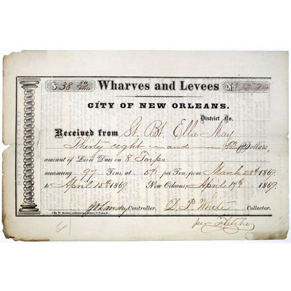 City of New Orleans Wharves and Levees, 1869 Levee Dues Payment