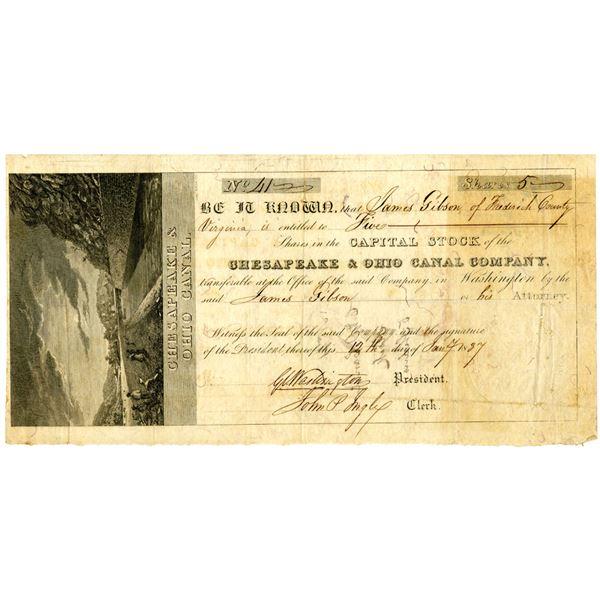 Chesapeake & Ohio Canal Co. 1837 I/U Stock Certificate Signed by George C. Washington
