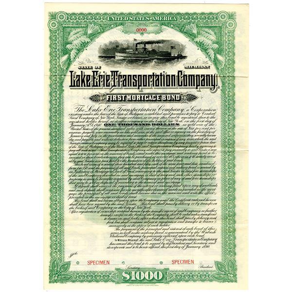 Lake Erie Transportation Co. 1890 Specimen Bond Rarity