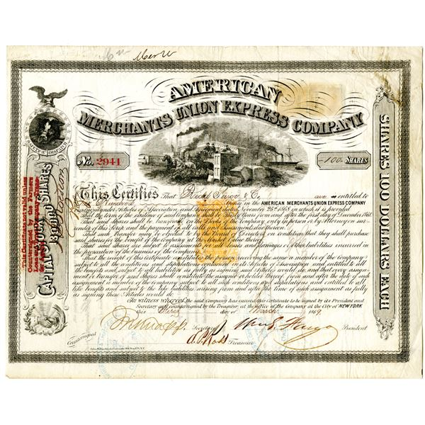 American Merchants Union Express Co. 1869 Issued Stock Certificate Signed by William Fargo With Impr