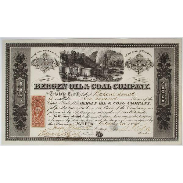 Bergen Oil & Coal Co., 1864 I/U Stock Certificate
