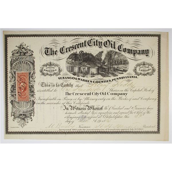 Crescent City Oil Co., 1864 I/U Stock Certificate