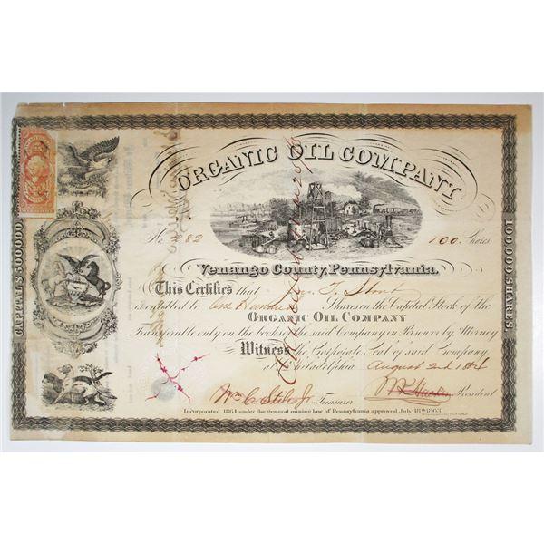 Organic Oil Co., 1864 I/C Stock Certificate