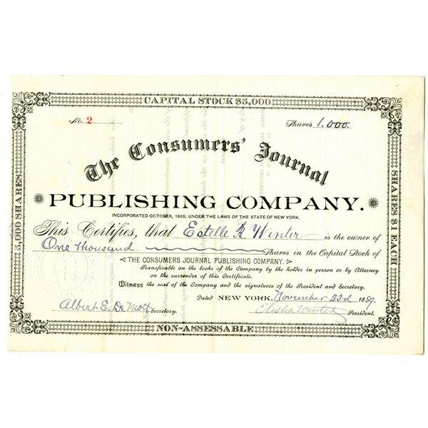 Consumers' Journal Publishing Co. 1889 I/U Stock Certificate