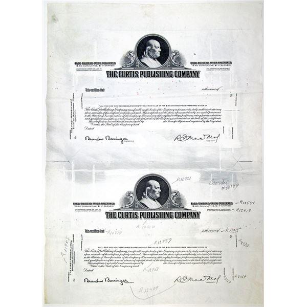 Curtis Publishing Co., ca. 1930-40's Progress Proof Uncut Stock Certificate Pair