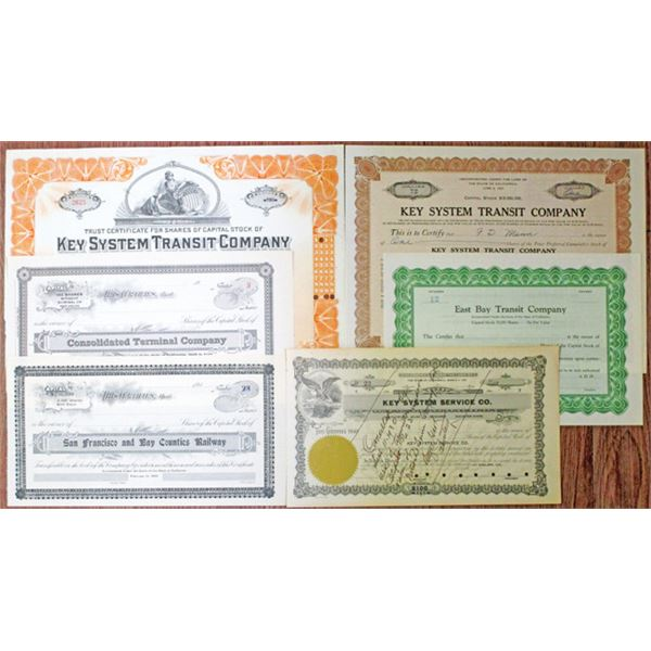 California Railroad Stock Certificates, ca. 1900-1938 Group of 6 Different