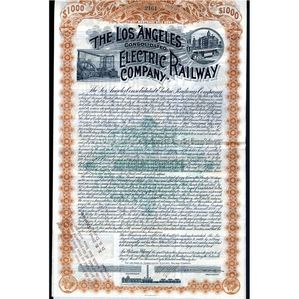 Los Angeles Consolidated Electric Railway Company, 1892 Issued 6% Gold Bond.