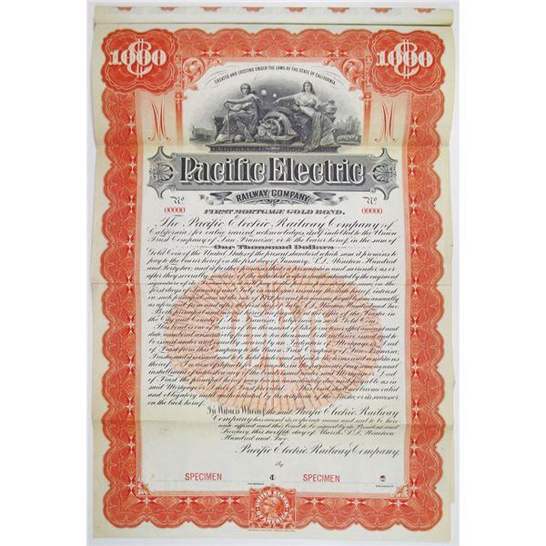 Pacific Electric Railway Co. 1902 Specimen Bond