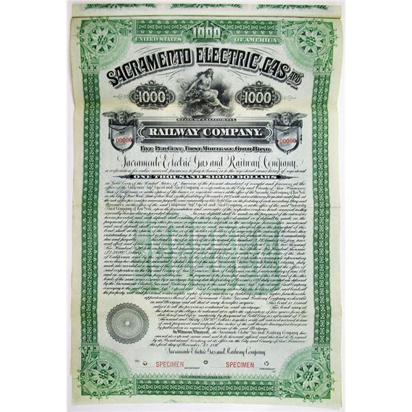 Sacramento Electric, Gas and Railway Co. 1897 Specimen Bond