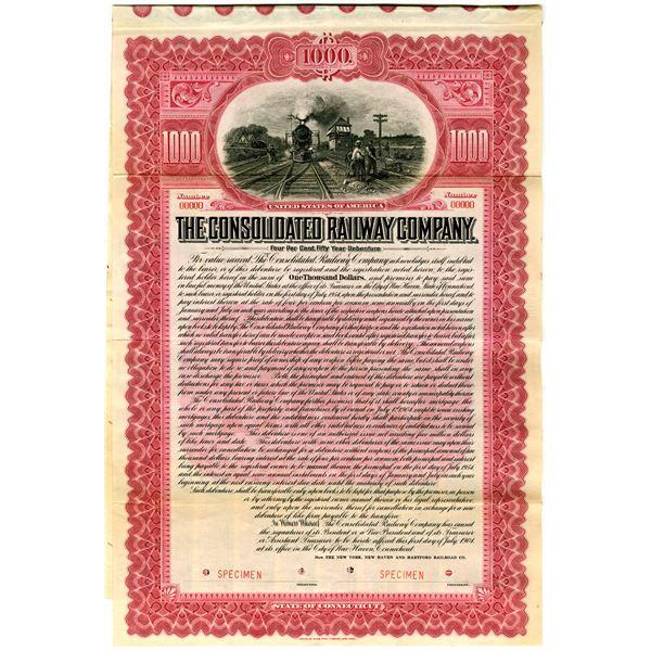 Consolidated Railway Co. 1904 Specimen Bond