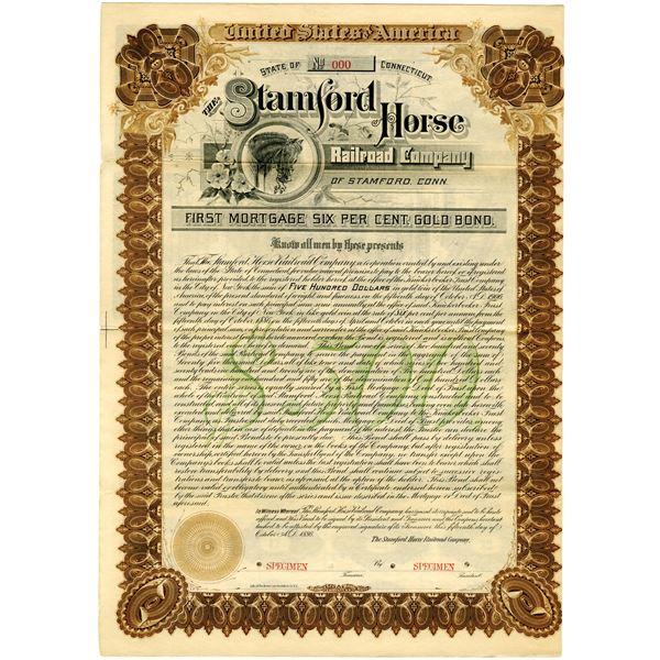 Stamford Horse Railroad Co. 1886 Specimen Bond Rarity
