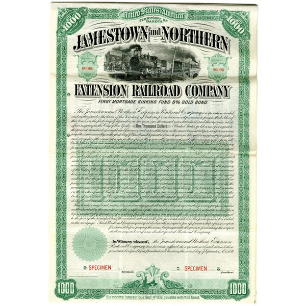 Jamestown and Northern Extension Railroad Co., 1889 Specimen Bond Rarity