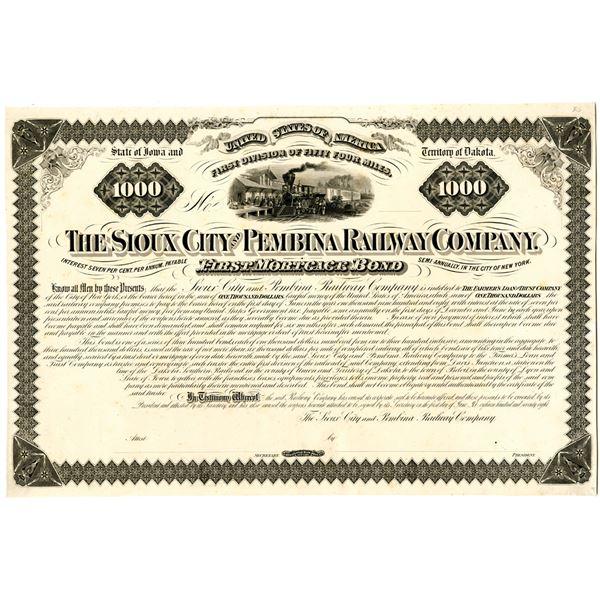Sioux City and Pembina Railway Co. 1878 Proof Bond Rarity