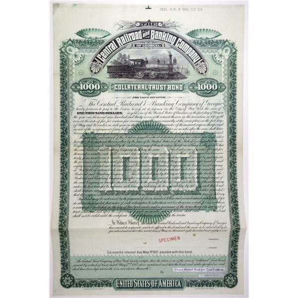 Central Railroad and Banking Co. of Georgia 1887 Specimen Bond Rarity