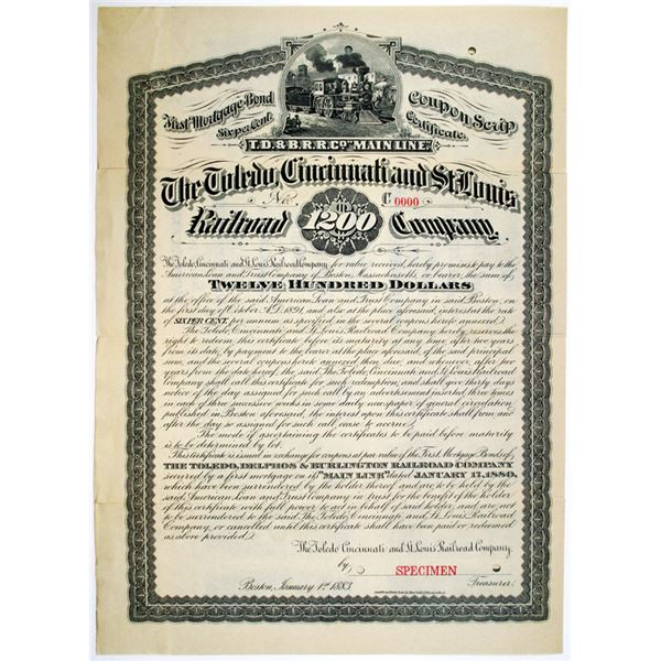 Toledo, Cincinnati and St. Louis Railroad Co. 1883 Specimen Coupon Scrip Certificate Rarity