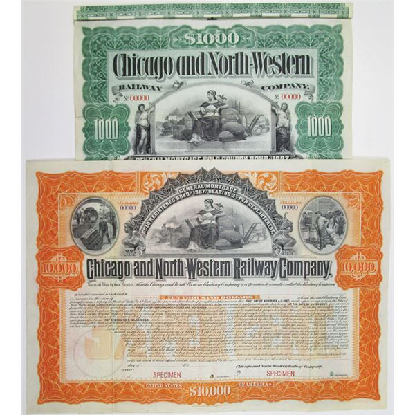 Chicago and North-Western Railway Co. 1897  Specimen Bond Pair