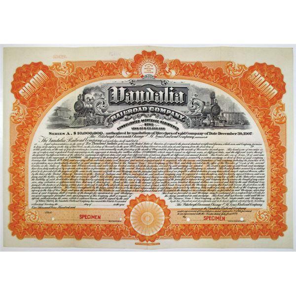 Vandalia Railroad Co. 1907 Specimen Bond Rarity