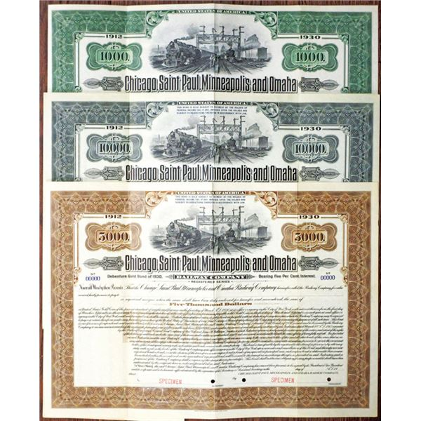 Chicago, Saint Paul, Minneapolis and Omaha Railway Co. 1912 Specimen Bond Trio