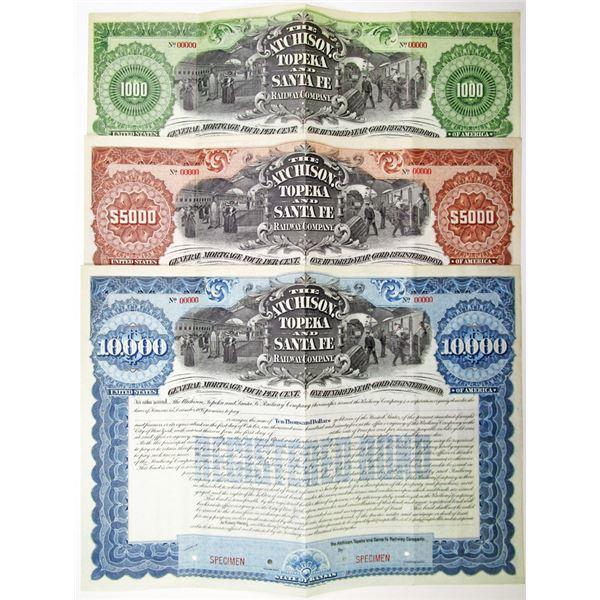 Atchison, Topeka and Santa Fe Railway Co. 1895 Specimen Bond Trio