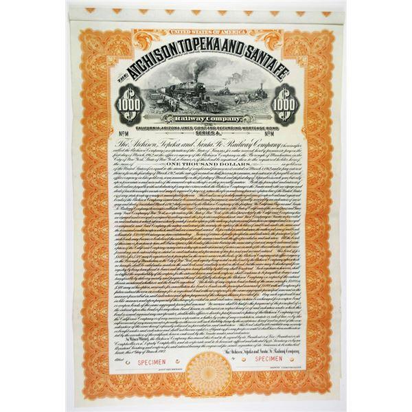 Atchison, Topeka and Santa Fe Railway Co. 1912 Specimen Bond Rarity