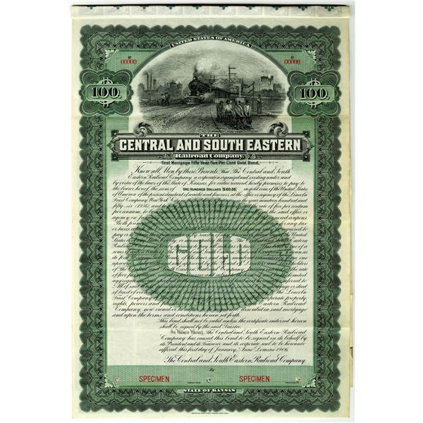 Central and South Eastern Railroad Co. 1906 Specimen Bond