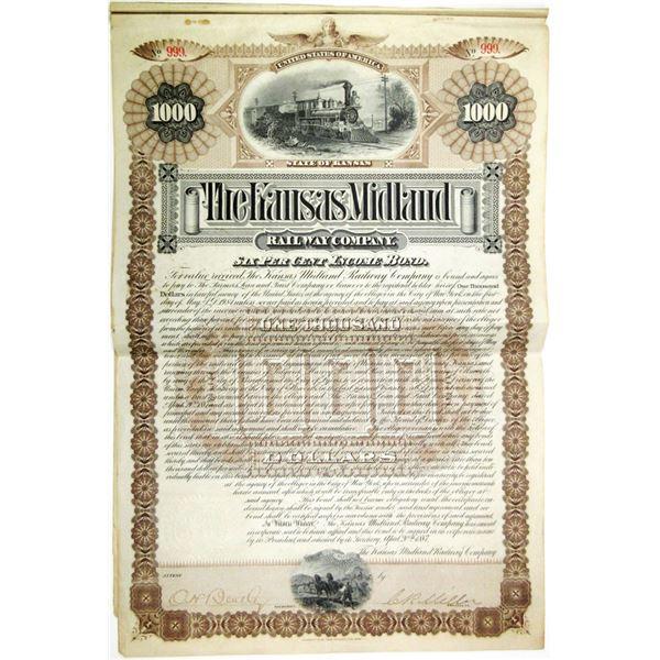 Kansas Midland Railway Co. 1887 I/U Bond