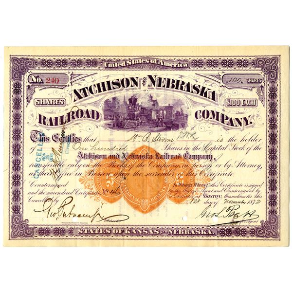 Atchison and Nebraska Railroad Co. 1872 I/C Stock Certificate with Imprinted Revenue in middle