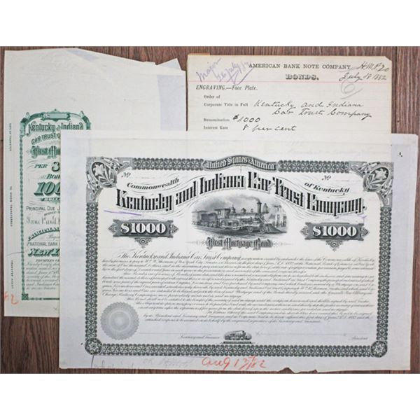 Kentucky and Indiana Car Trust Co. 1882 Unique Production Approval Proof Bond with Production Materi