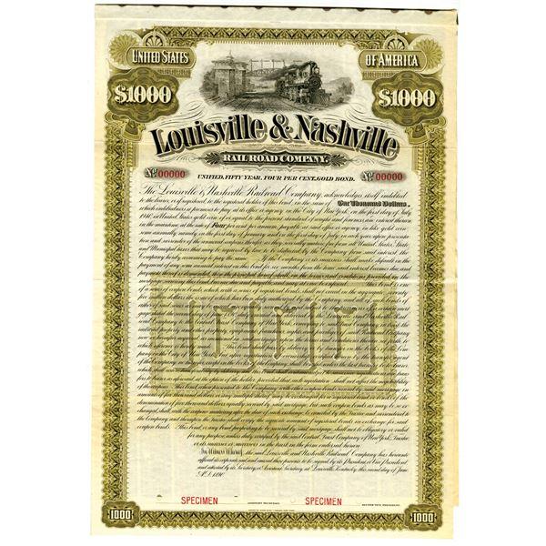 Louisville & Nashville Railroad Co. 1890 Specimen Bond