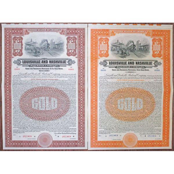 Louisville and Nashville Railroad Co. 1921 Specimen Bond Pair