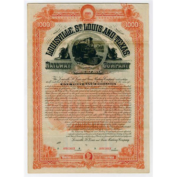 Louisville, St Louis & Texas Railway Co. 1887 Specimen  Bond.