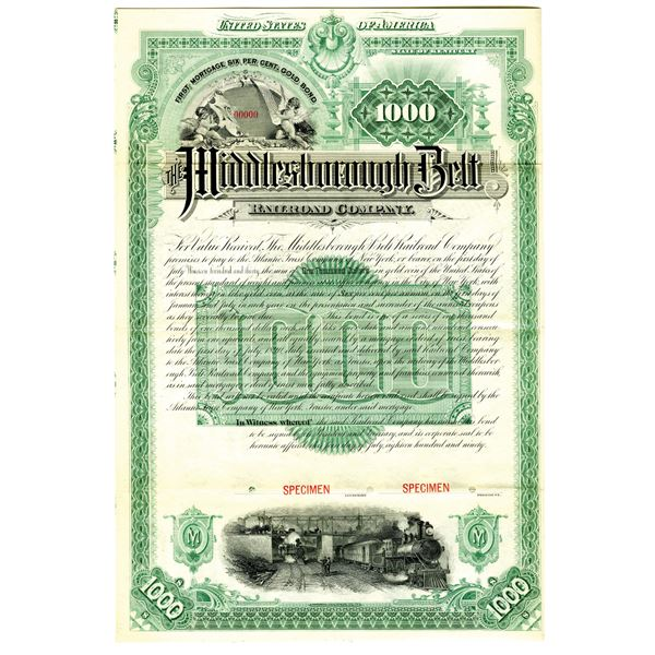 Middlesborough Belt Railroad Co. 1890 Specimen Bond