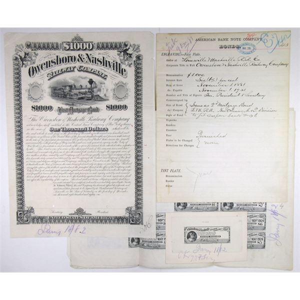 Owensboro & Nashville Railway Co. 1881. Unique Progress Proof Bond Production Assortment.