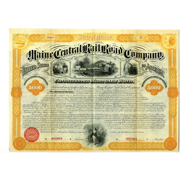 Maine Central Rail Road Co. 1872 Specimen Bond Rarity