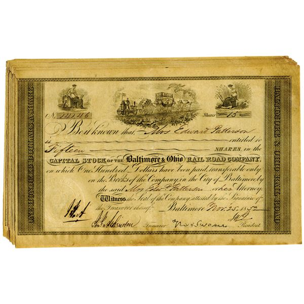 Baltimore & Ohio Rail Road Co. Issued Stock Certificate Group of 10, 1852